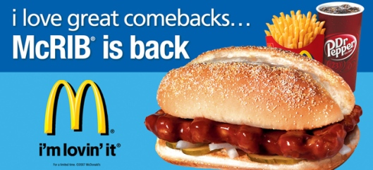McRib is back, bitches