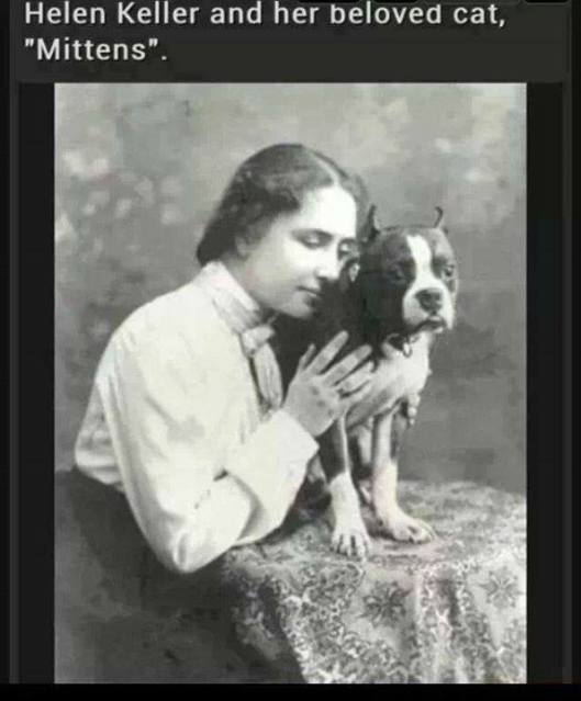 Helen Keller and her cat, Mittens